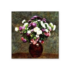 "Asters in a Vase, painting  Square Sticker 3"" x 3"""