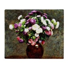 Asters in a Vase, painting by Henri  Throw Blanket