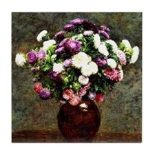 Asters in a Vase, painting by Henri F Tile Coaster