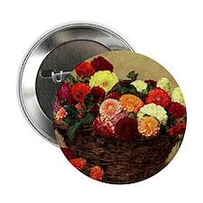 "Basket of Dahlias, Henri Fantin-Latou 2.25"" Button"