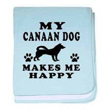 My Canaan Dog makes me happy baby blanket