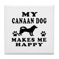 My Canaan Dog makes me happy Tile Coaster