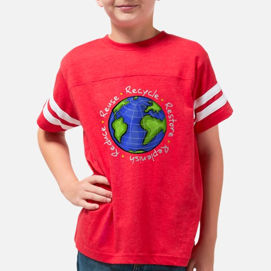 earth_day_reuse_recycle_dark Youth Football Shirt