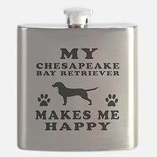 My Chesapeake Bay Retriever makes me happy Flask
