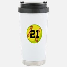 Softball Sports Personalized Stainless Steel Trave