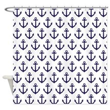 Navy Blue Anchor Pattern Ocean Shower Curtain