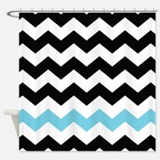 Turquoise Chevron Striped Shower Curtain