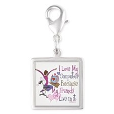 Online Friends Silver Square Charm