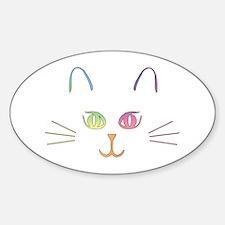 Rainbow Kitty Oval Decal