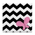 Cute Chevron Black Zigzag With Butterfly Tile Coas