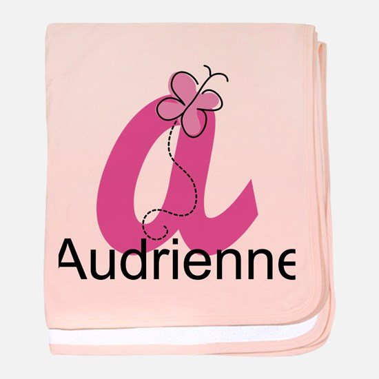 Personalized Monogram Letter A Butterfly baby blan