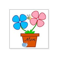 "Mom Flower pot Square Sticker 3"" x 3"""