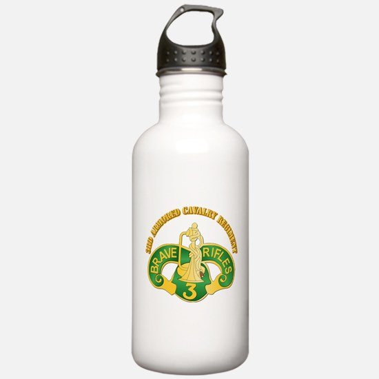 SSI - 3rd Armored Cavalry Rgt w Text Water Bottle