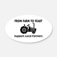 Support Farmers From Farm To Feast Oval Car Magnet