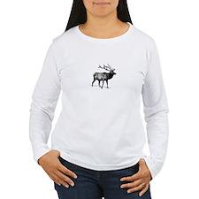 Elk - Wapiti (line art) Long Sleeve T-Shirt