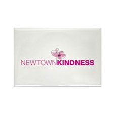 Newtown Kindness Logo White / Pink Rectangle Magne