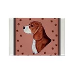 Beagle with pawprints Rectangle Magnet (100 pack)