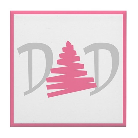 """Gay Dad Pink Triangle"" Tile Coaster"