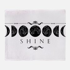MoonPhases-BLK Throw Blanket