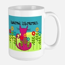 retired librarian cats and flowers throw Mugs