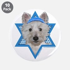 "Hanukkah Star of David - Westie 3.5"" Button (10 pa"
