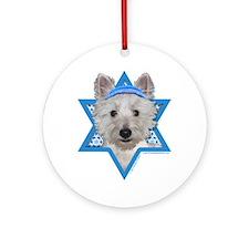 Hanukkah Star of David - Westie Ornament (Round)