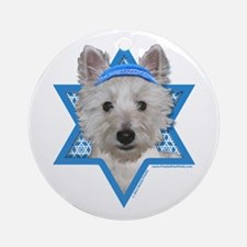 Hanukkah Star of David - Westie Ornament (Round)