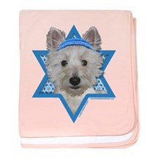 Hanukkah Star of David - Westie baby blanket
