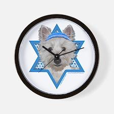 Hanukkah Star of David - Westie Wall Clock