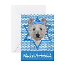 Hanukkah Star of David - Westie Greeting Card