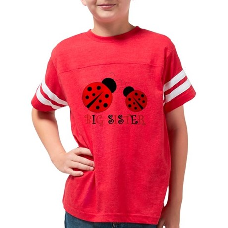 Big Sister Red and Black Lady Youth Football Shirt
