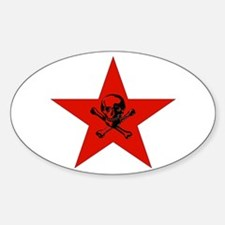Red Star and Skull Oval Decal