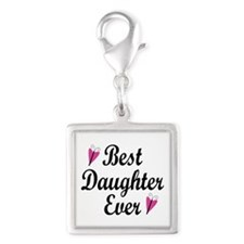 Best Daughter Ever Silver Square Charm