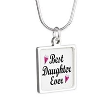 Best Daughter Ever Silver Square Necklace