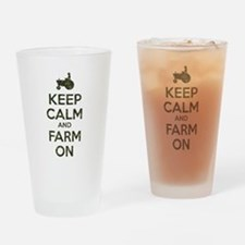 Camouflage Keep Calm and Farm On Drinking Glass