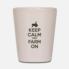 Camouflage Keep Calm and Farm On Shot Glass