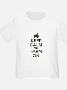Camouflage Keep Calm and Farm On T-Shirt