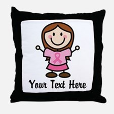 Personalized Breast Cancer Stick Figure Throw Pill