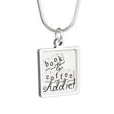 Book And Coffee Addict Silver Square Necklace