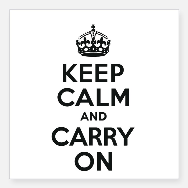 """Keep Calm and Carry On Square Car Magnet 3"""" x 3"""""""