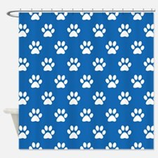Paws Blue Shower Curtain