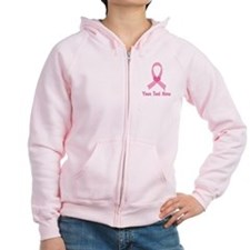 Breast Cancer Personalized Ribbon Zipped Hoodie