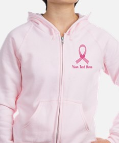 Breast Cancer Personalized Ribbon Zipped Hoody