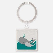 Cute Whale and Baby Ride the Waves Keychains