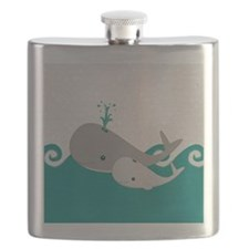 Cute Whale and Baby Ride the Waves Flask