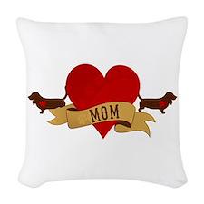 Basset Hound Mom Woven Throw Pillow