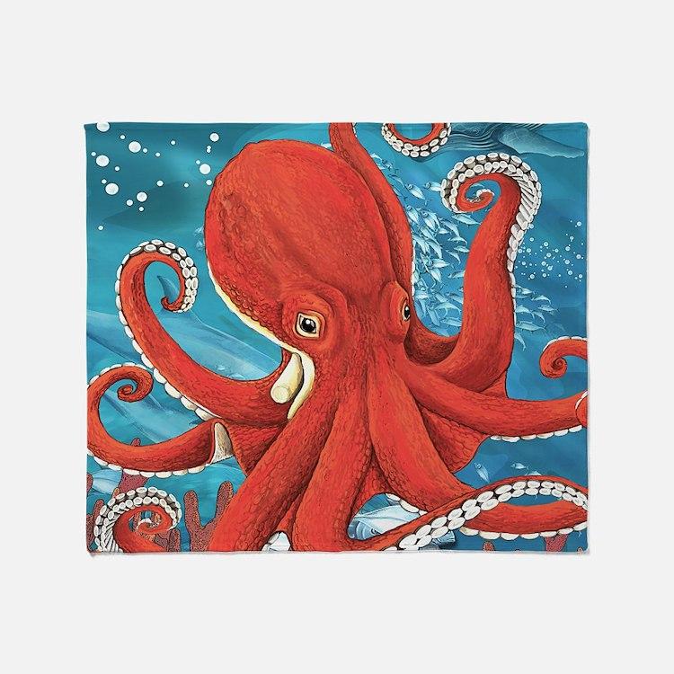 Octopus Painting Throw Blanket