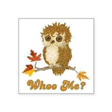 "Whoo Me Autumn Owl Square Sticker 3"" x 3"""