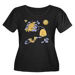 Honey Be Women's Plus Size Dark Scoop Neck T-Shirt