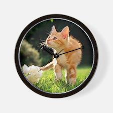 Garden Walk Tabby Cat Wall Clock